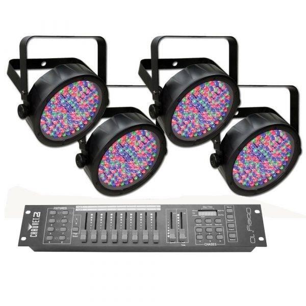 Chauvet SlimPAR 56 RGB Par 4-pack with Chauvet Obey 10 DMX Controller