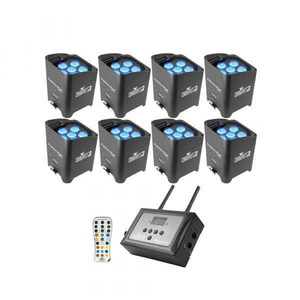 Chauvet Freedom Par Tri-6 LED Light 8-Pack w/FlareCon Air