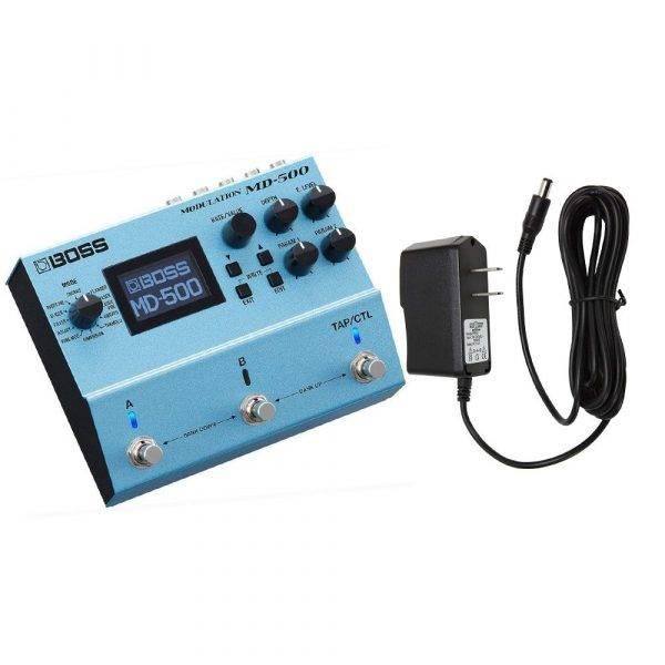 BOSS MD-500 Modulation Pedal with Pig Power 9V DC 1000ma Power Adapter