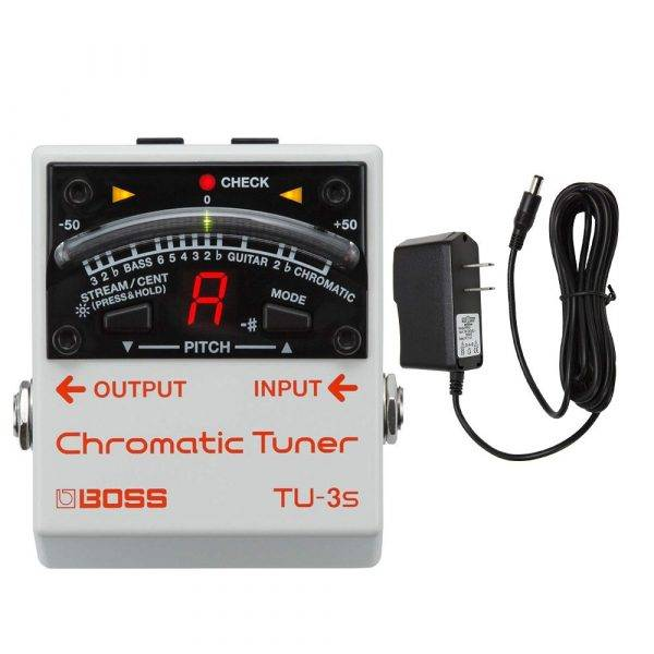 Boss TU-3S Chromatic Tuner with Pig Power 9V DC 1000ma Power Supply