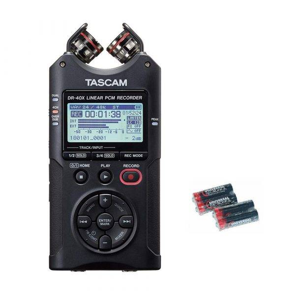 Tascam DR-40X Handheld Recorder w/4 Universal Electronics AA Batteries