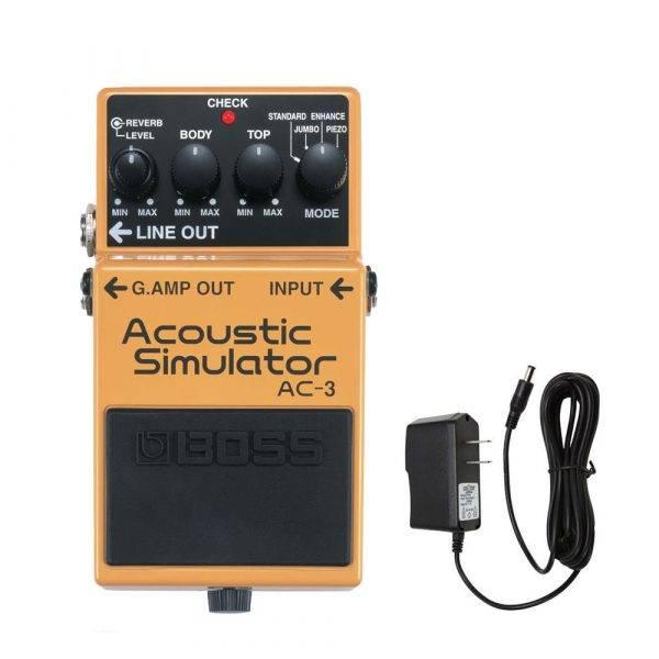 Boss AC-3 Acoustic Simulator w/PigHog PigPower 9V 1000ma Power Supply