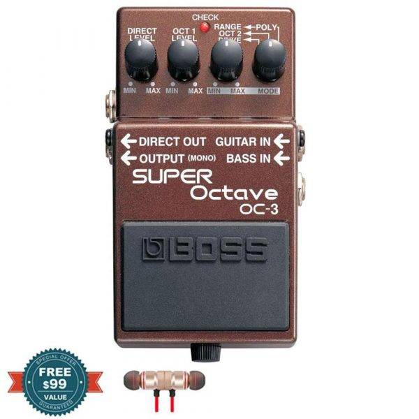 Boss OC-3 SUPER Octave Pedal with Wireless Earbuds
