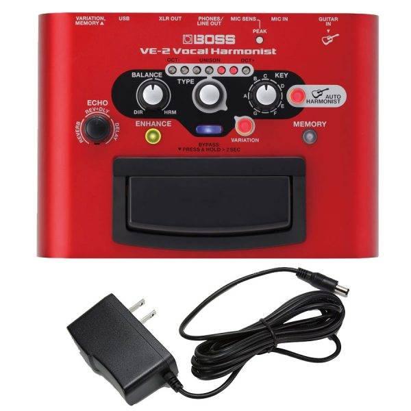 Boss VE-2 Vocal Harmonist & PigHog PigPower 9V DC 1000ma Power Supply