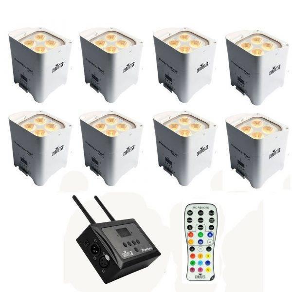 Chauvet Freedom Par Hex-4 LED Light White 8-Pack w/FlareCON Air Bundle