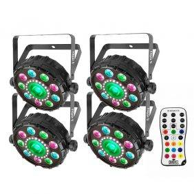 Chauvet FXpar 9 Multi-Effect Fixture 4-Pack with IRC-6 Remote Control