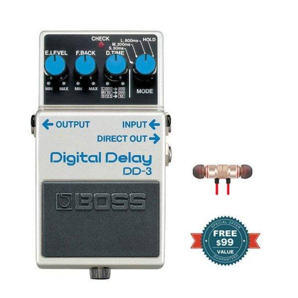 Boss DD-3 Digital Delay Pedal with Wireless Earbuds