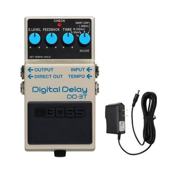 BOSS DD-3T Digital Delay with PigHog PigPower 9V 1000ma Power Supply