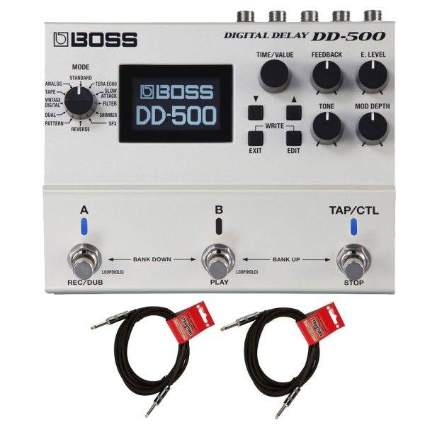 Boss DD-500 Digital Delay Pedal w/ 2 1/4' to 1/4 Cables