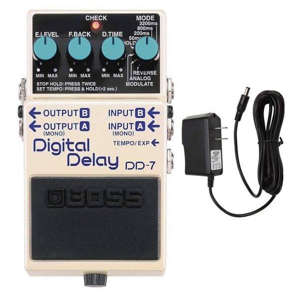 BOSS DD-7 Digital Delay Pedal with PigHog PP9V Pig Power 9V DC 1000ma Power Supply