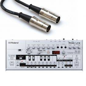 Roland Boutique TB-03 Bass Line Synthesizer with Hosa Midi Cable