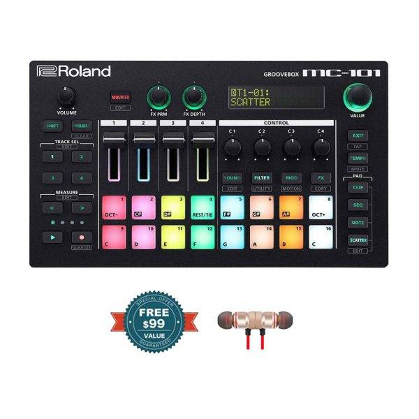 Roland MC-101 4-track Groovebox with Wireless Earbuds