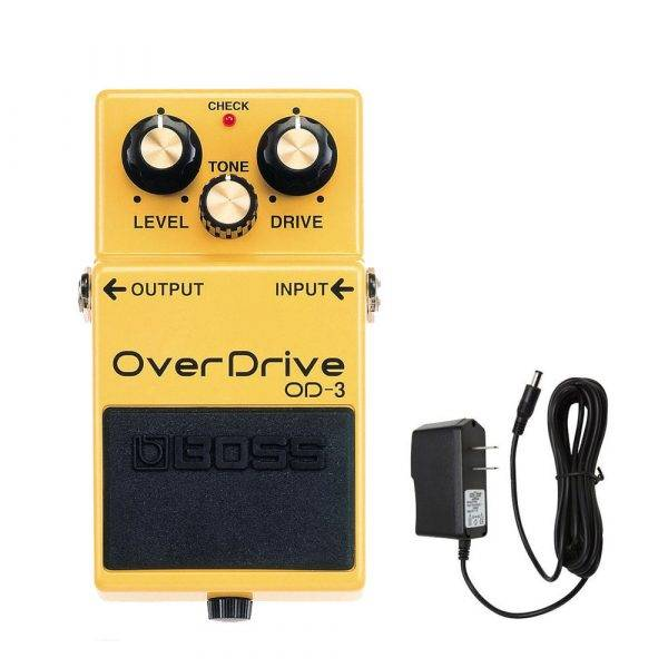 Boss OD-3 OverDrive Pedal w/PigHog PigPower 9V DC 1000ma Power Supply