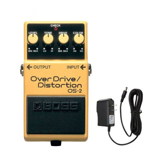 BOSS OS2 Overdrive/Distortion w/PigHog PigPower 9V 1000ma Power Supply