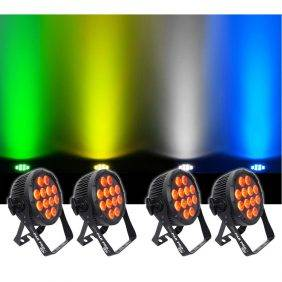 Chauvet SlimPAR Pro H USB RGBAW+UV LED Wash Light Black 4-Pack