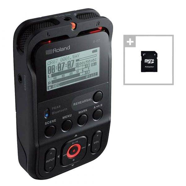 Roland R-07 High-Resolution Audio Recorder Black w/ EV Music 32gb Card