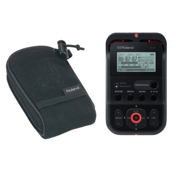 Roland R-07 Handheld Audio Recorder Black with Free Roland Carry Pouch