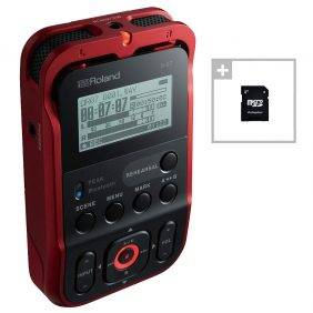 Roland R-07 High-Resolution Audio Recorder Red with EV Music 32gb Card
