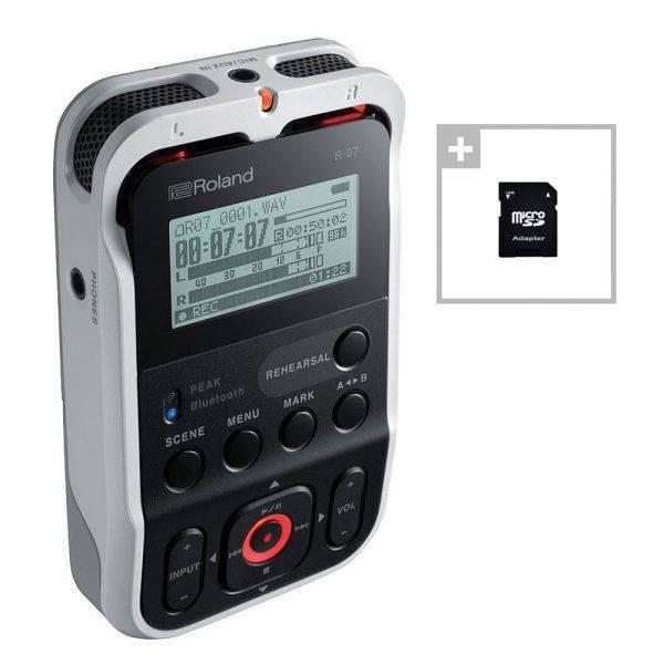 Roland R-07 High-Resolution Audio Recorder White w/ EV Music 32gb Card