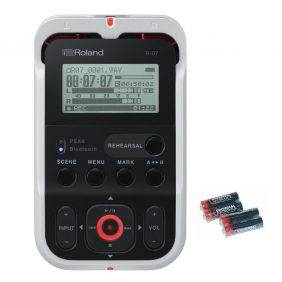 Roland R-07 Audio Recorder White with 4 AA Universal Batteries