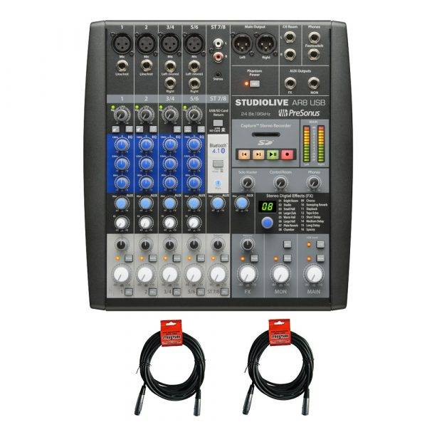 PreSonus StudioLive AR8 USB Analog Mixer with 2 20ft XLR Cables