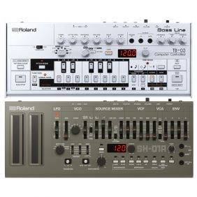 Roland TB-03 Bassline Synth with Roland SH-01a Synth Module