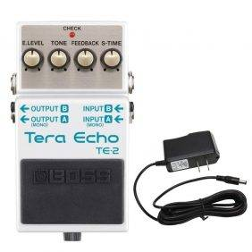 Boss TE-2 Tera Echo Pedal with PowerPig 9V DC 1000ma Power Supply