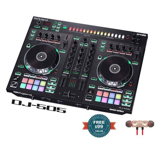 Roland DJ-505 2-ch, 4-deck Serato DJ Controller with Wireless Earbuds
