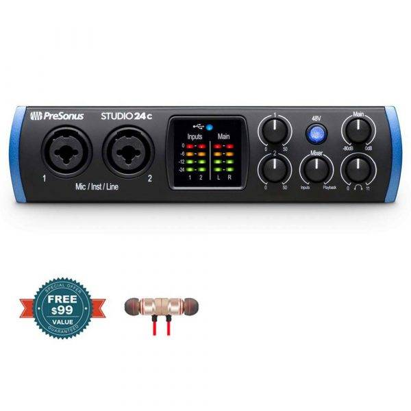 PreSonus Studio 24c USB Type-C Audio Interface with Wireless Earbuds