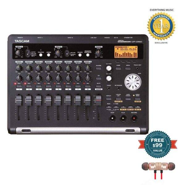 Tascam DP-03SD 8-Track Digital Portastudio with Wireless Earbuds