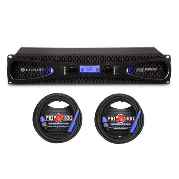 Crown XLS 2502 Power Amp & 2 Pig Hog 25ft SPKON to 1/4' Cables Bundle